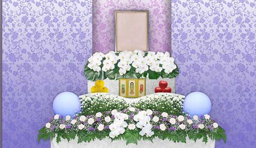 一日葬シンプルプランの花祭壇